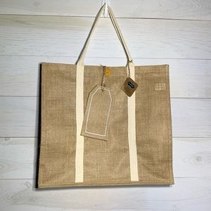 Mud Pie Jute tote bag gift bag